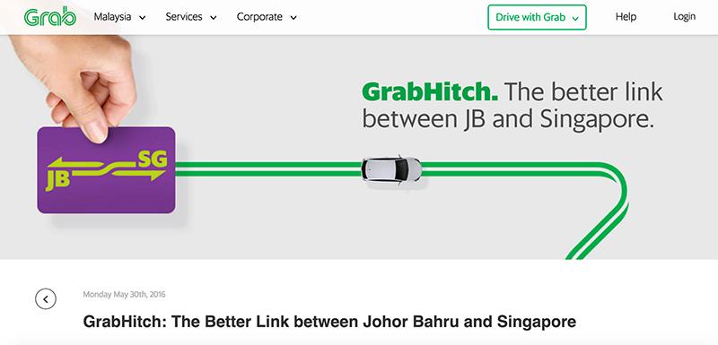 Grabがシンガポール−ジョホールバル間の相乗りサービス開始