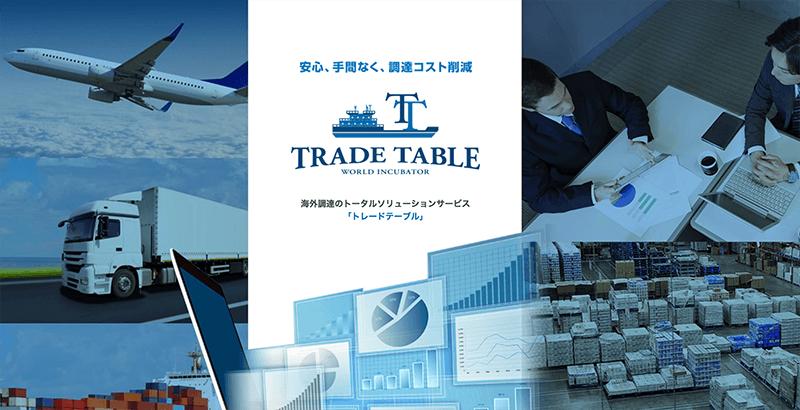 「ワールドインキュベーター」が海外資材調達の新サービス「TradeTable」をスタート