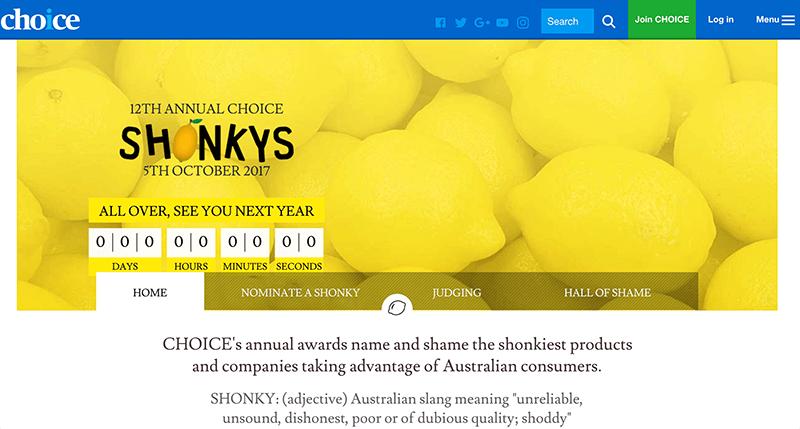 豪・最大の消費者団体「Choice」による不名誉な賞(ションキー・アウォード)が発表